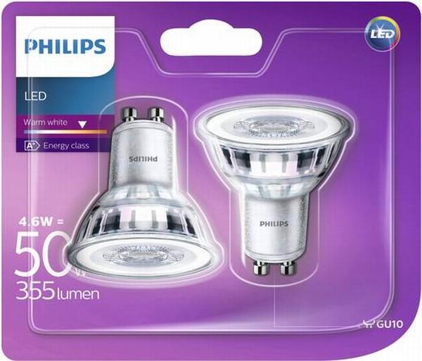 Philips LED Lamp GU10 4.6W Reflector 2 Stuks