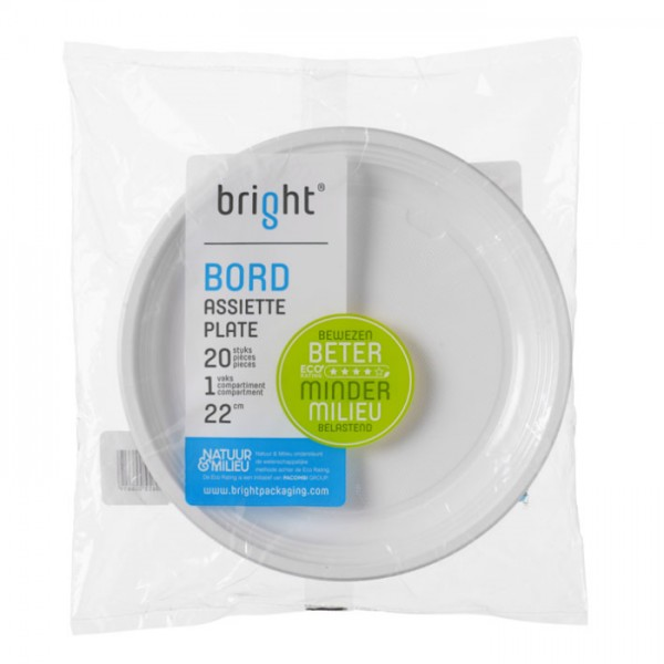 Bright Wegwerp Bord 22 cm 20 Stuks
