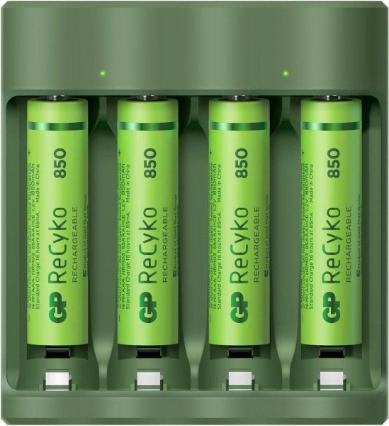 GP recyko batterijoplader 4x AAA 850mAh