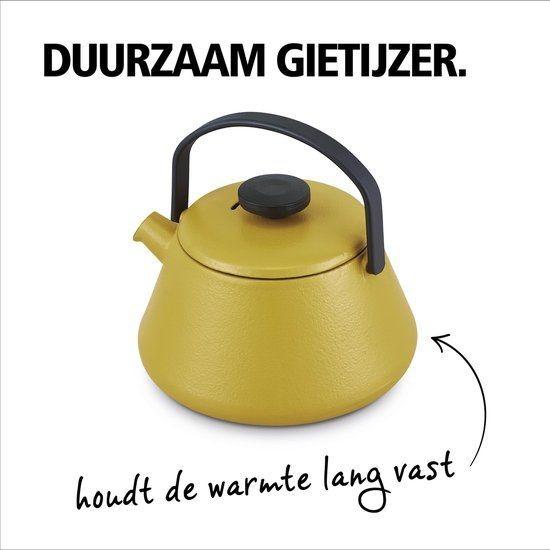 Brabantia thee ketel gietijzer mosterd geel