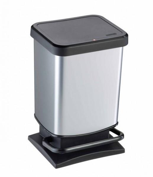 Rotho Pedaalemmer 20 liter zilverkleurig