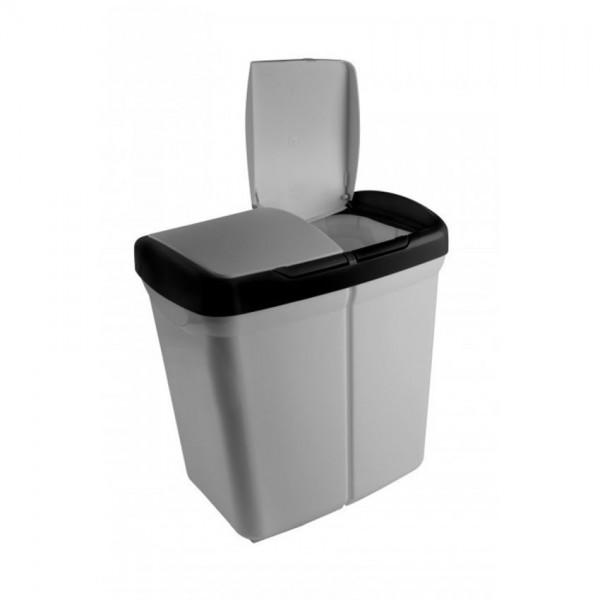 Sunware duo prullenbak met 2 compartimenten met pushbutton 25 liter
