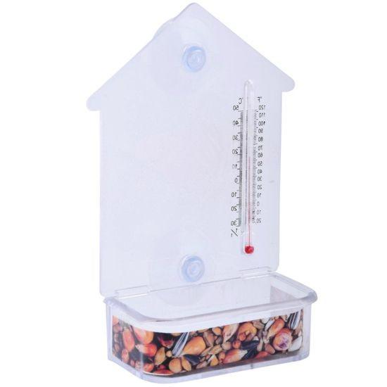 Raamvoederhuis met thermometer