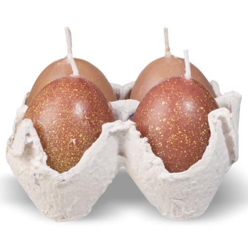 Eierkaarsen bruin 4 stuks