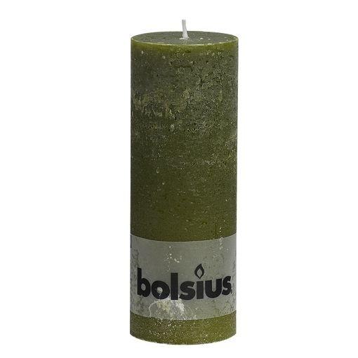 Bolsius Kaars Rustiek Olijfgroen 19cm