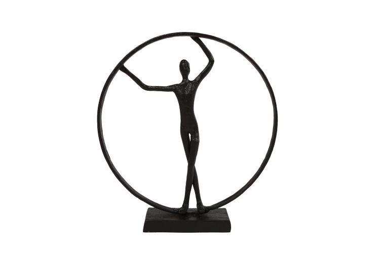 Sculptuur Person in ring metaal