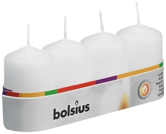 Bolsius stompkaars wit set van 4