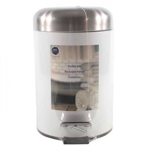 Toilet pedaalemmer 3 liter metaal wit