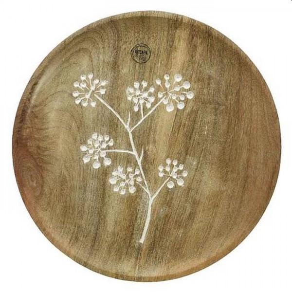 Schaal mangohout bloem 32cm