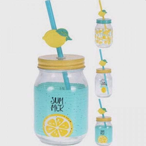 Drinkglas lemon met rietje