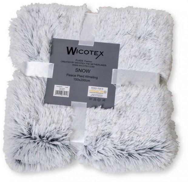 Wicotex plaid snow 150x200cm wit zwart
