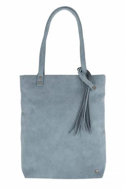 Zusss basic shopper met kwast grijs blauw