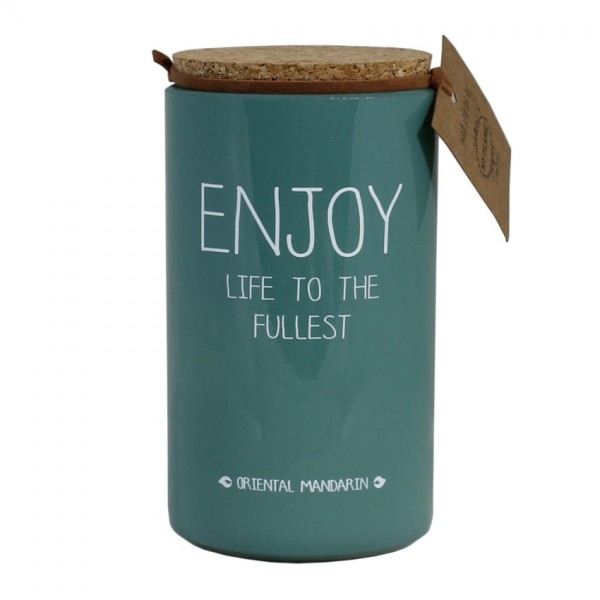 My Flame Lifestyle scented soy candle green enjoy life