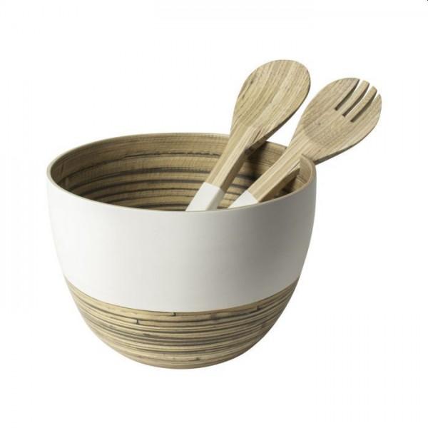 Gusta schaal salade met couvert bamboe wit