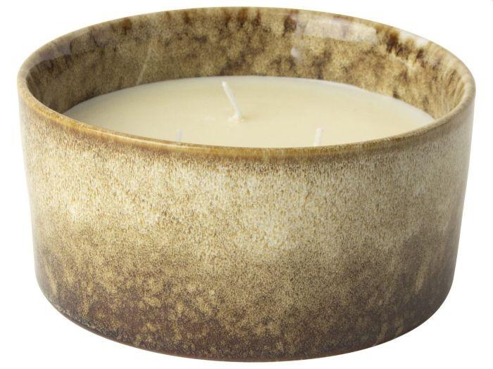 Gusta Kaars in keramische pot 13 5cm bruin