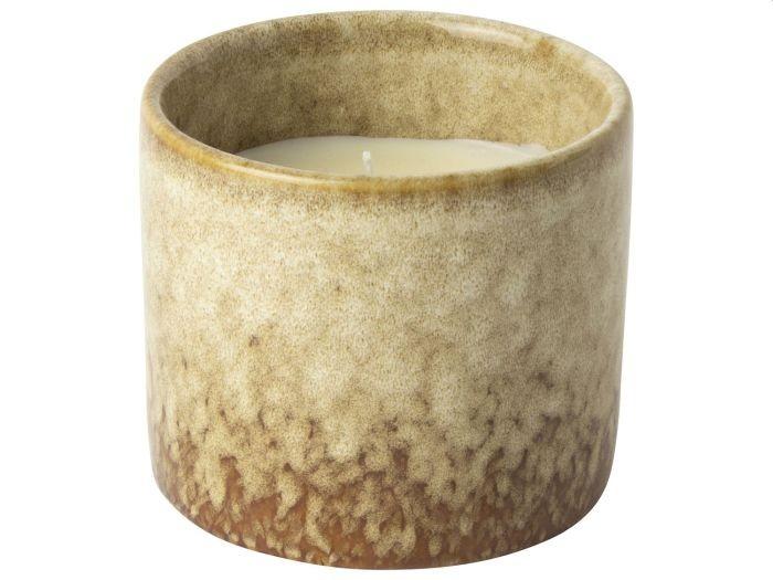 Gusta Kaars in keramkische pot 8 6x7 6cm bruin
