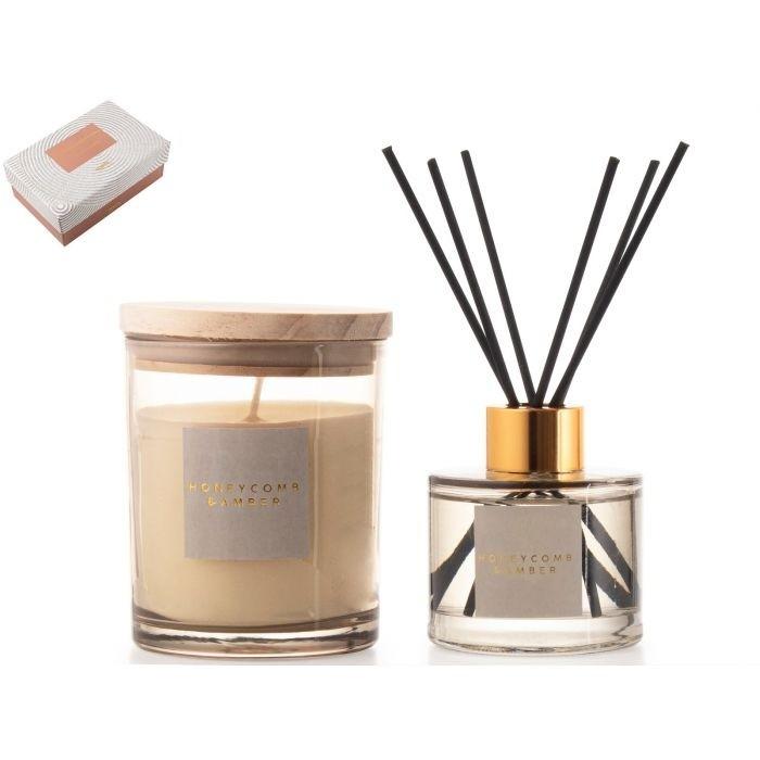 Gusta Giftset kaars/diffuser honey amber